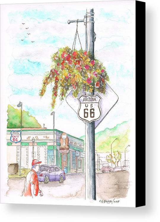 Route 66 Canvas Print featuring the painting Street Sign In Route 66. Williams, Arizona by Carlos G Groppa