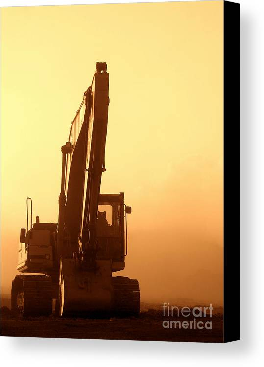 Excavator Canvas Print featuring the photograph Sunset Excavator by Olivier Le Queinec
