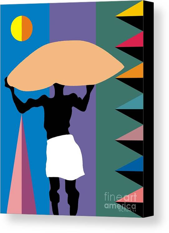 Portraits Canvas Print featuring the digital art The Burden by Walter Oliver Neal
