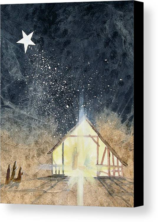 Christmas Canvas Print featuring the painting The First Christmas by Jackie Mueller-Jones