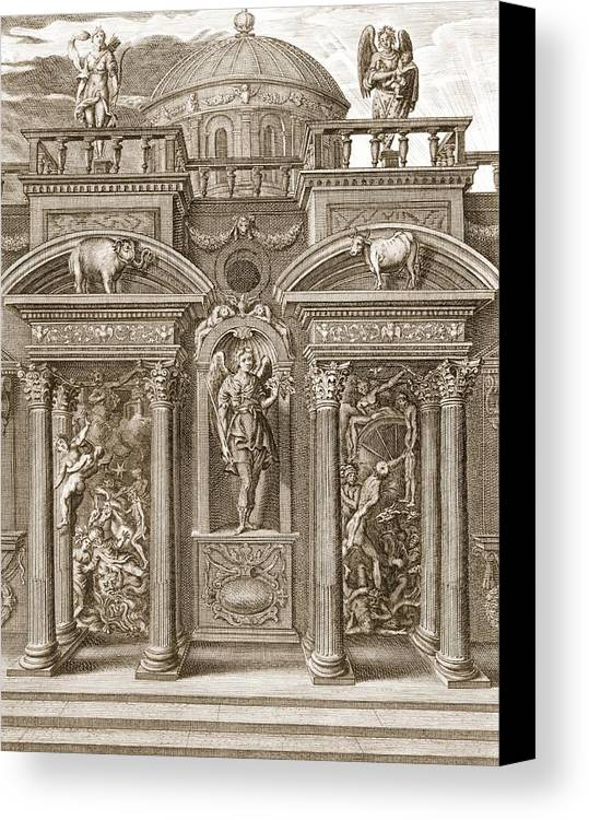 Architecture Canvas Print featuring the drawing The House Of Sleep, 1731 by Bernard Picart