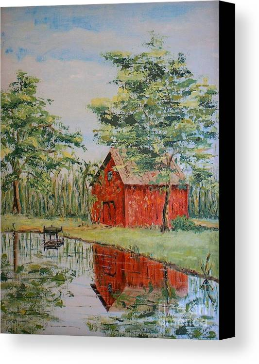 Red Shed Building Canvas Print featuring the painting The Shed - Sold by Judith Espinoza