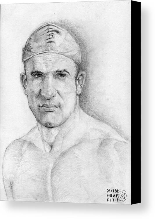 Swimmer Canvas Print featuring the drawing The Winner Takes It All by Mon Graffito