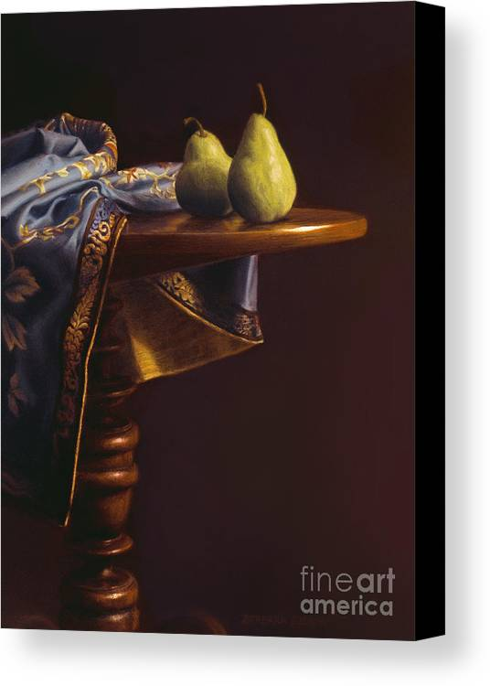 Still Life Canvas Print featuring the painting Two Bartletts On A Tilt-top Table by Barbara Groff