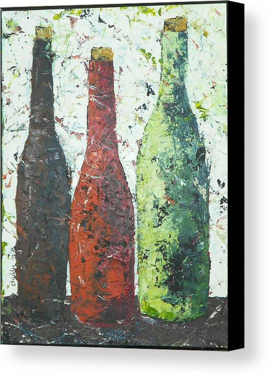 Wine Bottles Canvas Print featuring the painting Vino 2 by Phiddy Webb