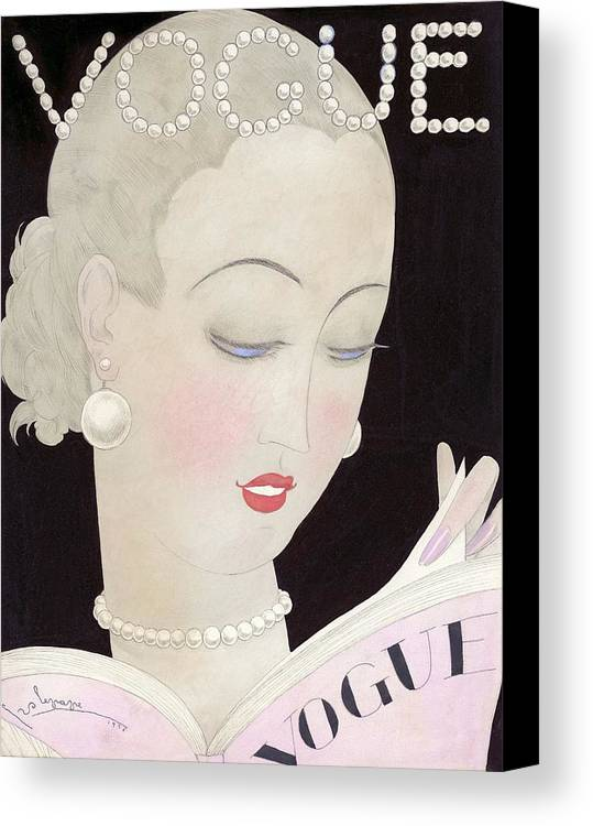 Fashion Canvas Print featuring the digital art Vogue Magazine Cover Featuring A Woman Reading by Georges Lepape