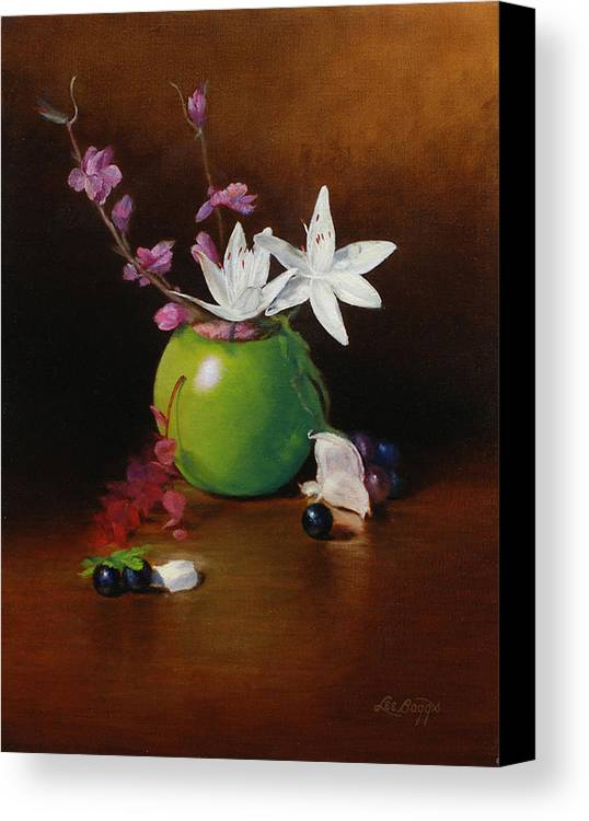 Still Life Canvas Print featuring the painting White Lilies by Lee Baggs