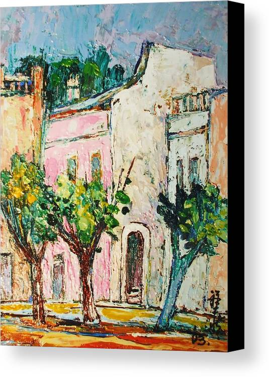Village Canvas Print featuring the painting White Village by Siang Hua Wang