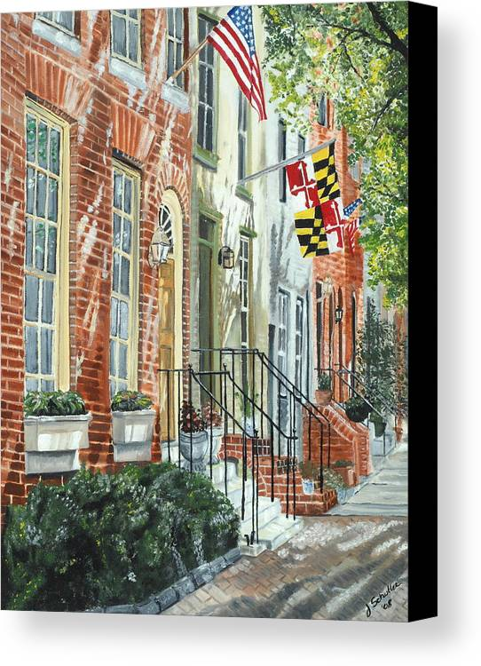 Baltimore Canvas Print featuring the painting William Street Summer by John Schuller