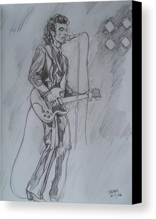 Pencil Canvas Print featuring the drawing Willy Deville - Steady Drivin' Man by Sean Connolly