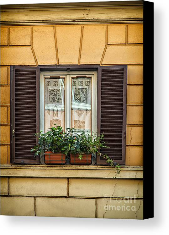 Rome Canvas Print featuring the photograph Window In Rome by Sophie McAulay