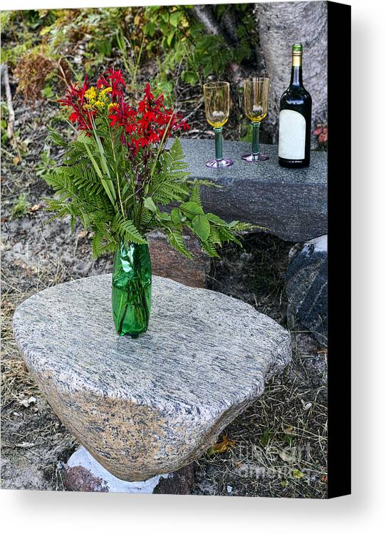 Red Canvas Print featuring the photograph Wine And Red Flowers On The Rocks by Les Palenik