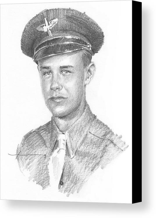 Www.miketheuer.com Wwii Military Dad Pencil Portrait Canvas Print featuring the drawing Wwii Military Dad Pencil Portrait by Mike Theuer