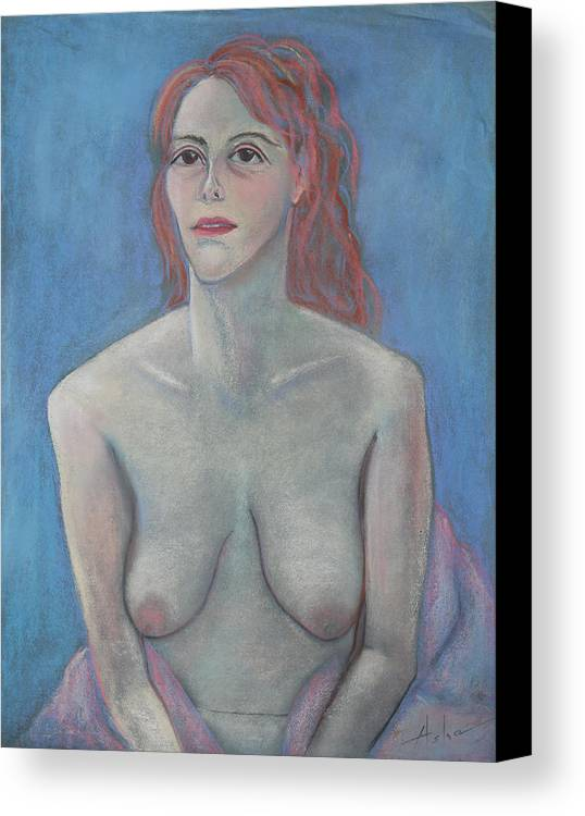Female Nude Canvas Print featuring the pastel Young Mother by Asha Carolyn Young
