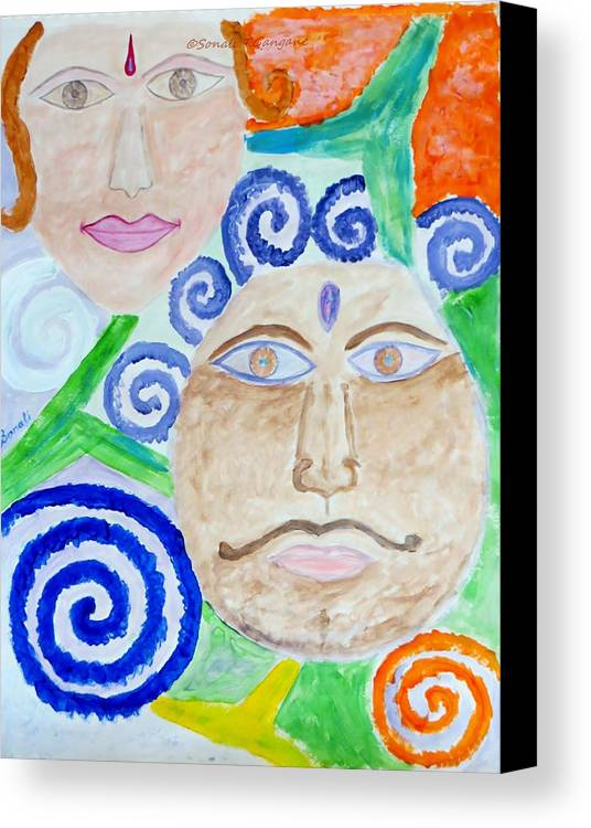 Expresion Canvas Print featuring the painting Faces by Sonali Gangane