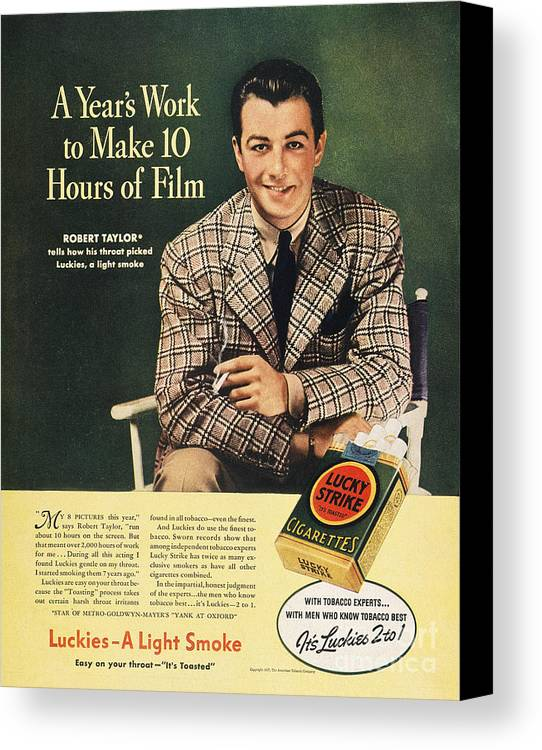 1937 Canvas Print featuring the photograph Lucky Strike Cigarette Ad by Granger