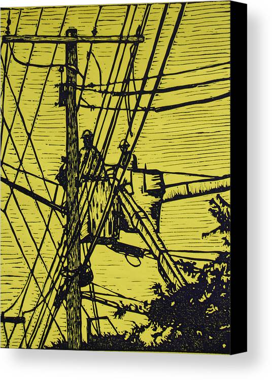 Powerlines Canvas Print featuring the drawing Working On Lines by William Cauthern