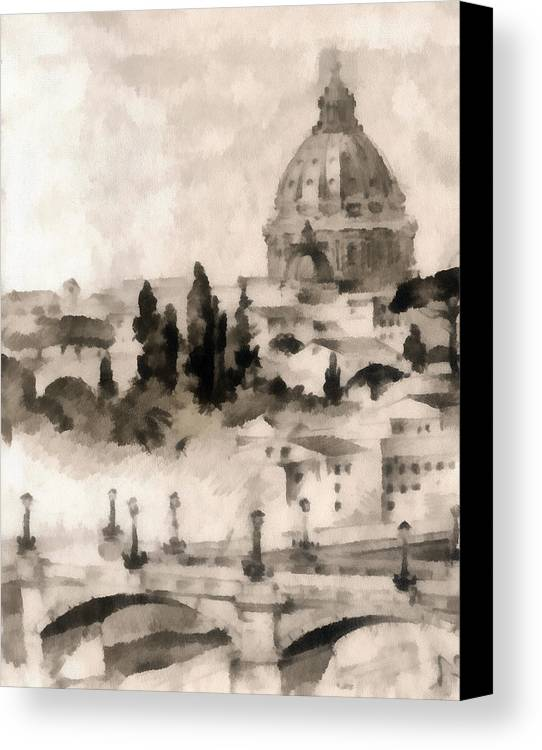 Nature Canvas Print featuring the painting By Italy by Odon Czintos