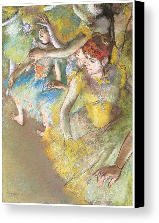 Ballet Dancers On The Stage Canvas Print featuring the pastel Ballet Dancers On The Stage by Edgar Degas