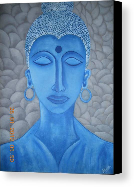 Canvas Print featuring the painting Blue Buddha by Ashish Jha