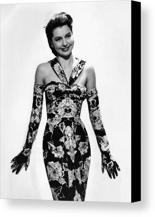 11x14lg Canvas Print featuring the photograph Cyd Charisse Modeling Flowered Evening by Everett