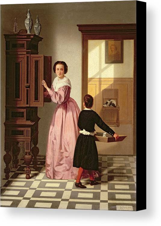 Figures In A Laundryroom Canvas Print featuring the painting Figures In A Laundryroom by Gustaaf Antoon Francois Heyligers