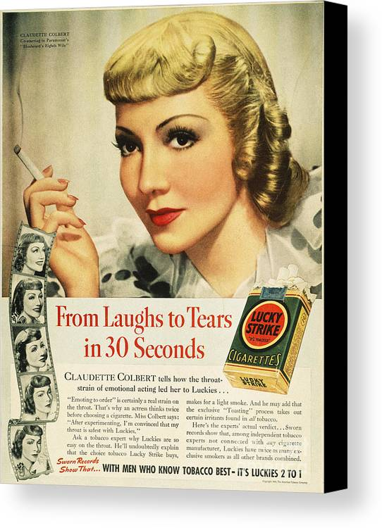 1938 Canvas Print featuring the photograph Luckys Cigarette Ad, 1938 by Granger