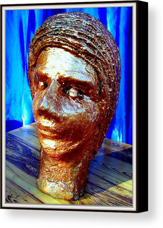 Sculptures Canvas Print featuring the sculpture My Model Face by Anand Swaroop Manchiraju