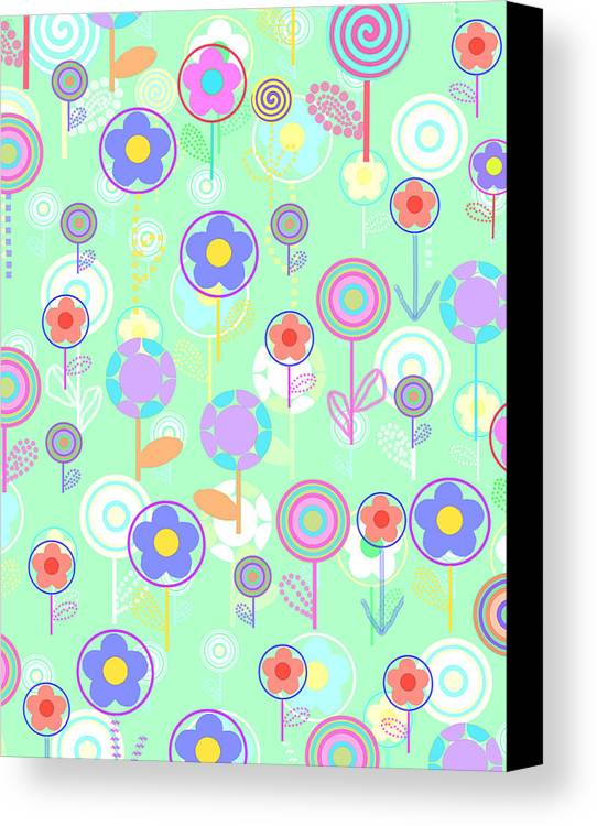 Louisa Canvas Print featuring the digital art Overlayer Flowers by Louisa Knight