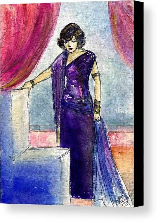 Nostalgia Canvas Print featuring the drawing Pola Negri by Mel Thompson