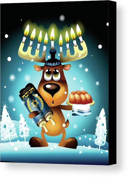 Vertical Canvas Print featuring the digital art Reindeer With Menorah For Antlers by New Vision Technologies Inc