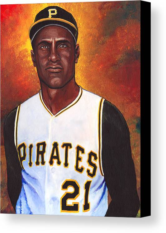 Roberto Clemente Walker Canvas Print featuring the painting Roberto Clemente by Steve Benton