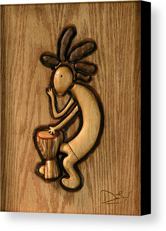 Kokopelli Canvas Print featuring the relief Spring Jam B by David Taylor