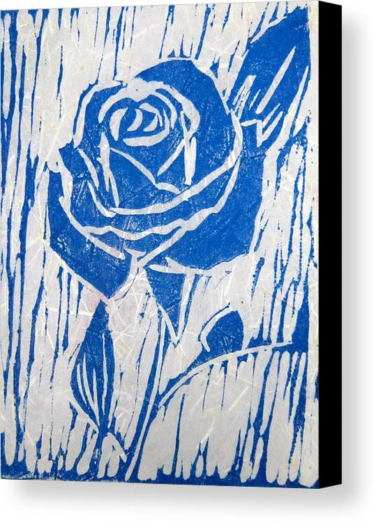 Blue Rose Canvas Print featuring the relief The Blue Rose by Marita McVeigh