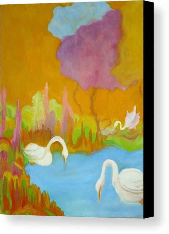 Swans Canvas Print featuring the painting Three Swans by Diana Ogaard