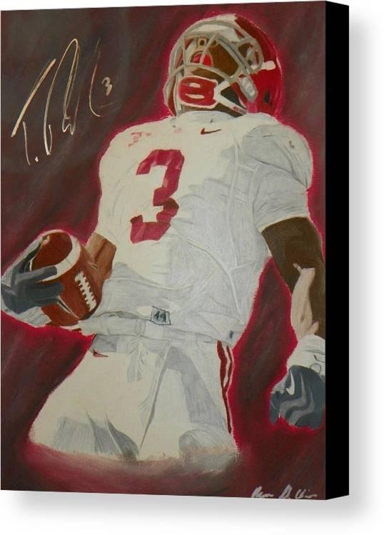 Trent Richardson Canvas Print featuring the drawing Trent Richardson Alabama Crimson Tide by Ryne St Clair
