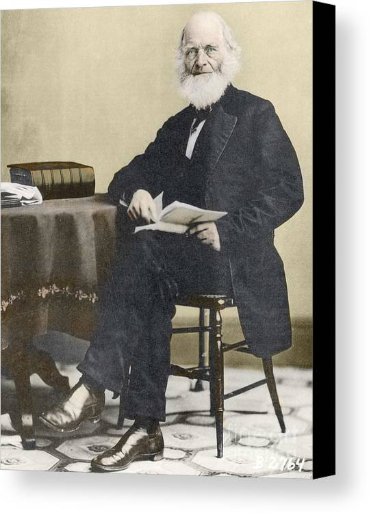 History Canvas Print featuring the photograph William Cullen Bryant, American Poet by Science Source