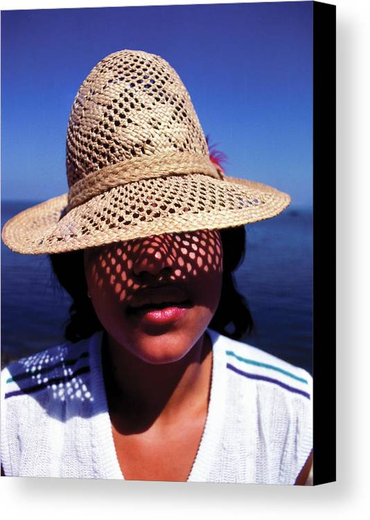 Hat Canvas Print featuring the photograph Young Lady With Straw Hat by Johnny Sandaire