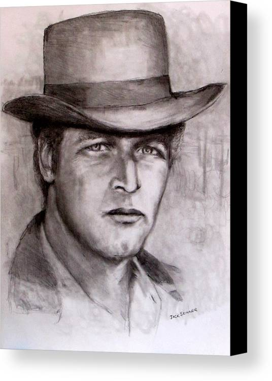 Butch Cassidy Canvas Print featuring the drawing Butch Cassidy by Jack Skinner