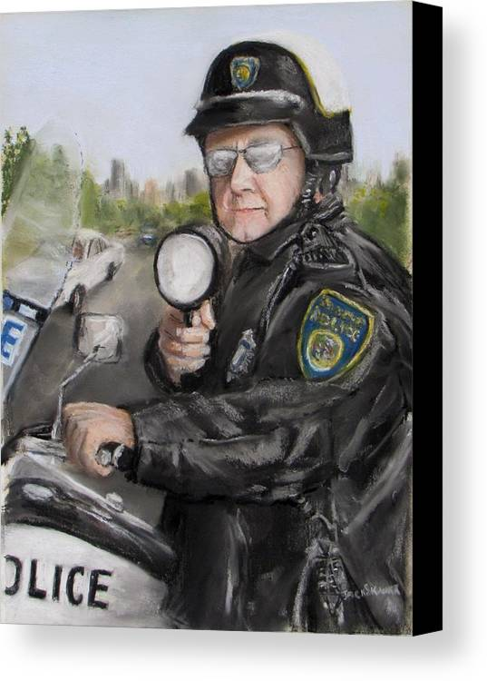 Police Canvas Print featuring the painting Gotcha by Jack Skinner