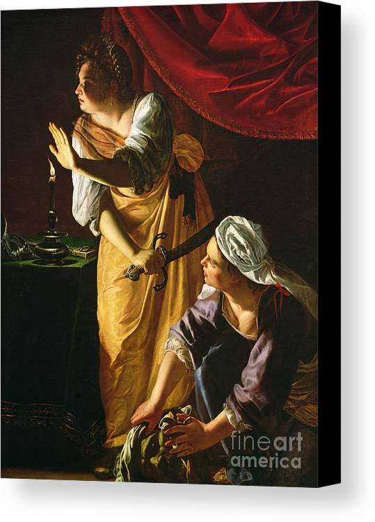 Judith Canvas Print featuring the painting Judith And Maidservant With The Head Of Holofernes by Artemisia Gentileschi