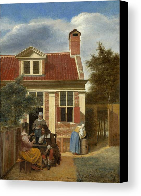 Backyard Canvas Print featuring the painting A Group At The Site Behind A House by Pieter de Hooch