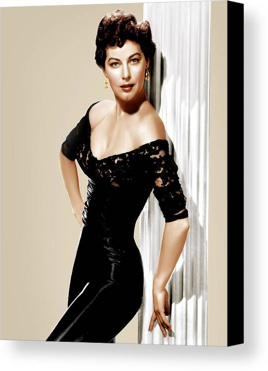 1950s Portraits Canvas Print featuring the photograph Ava Gardner, Ca. 1950s by Everett