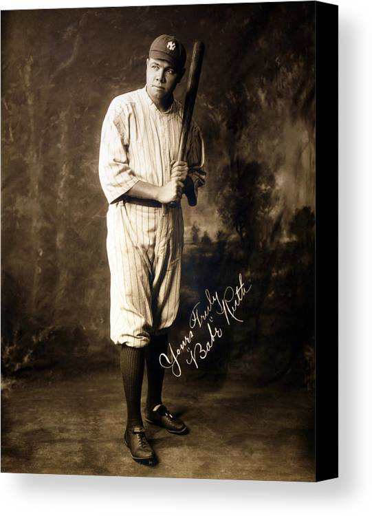 1920s Canvas Print featuring the photograph Babe Ruth, 1920 by Everett