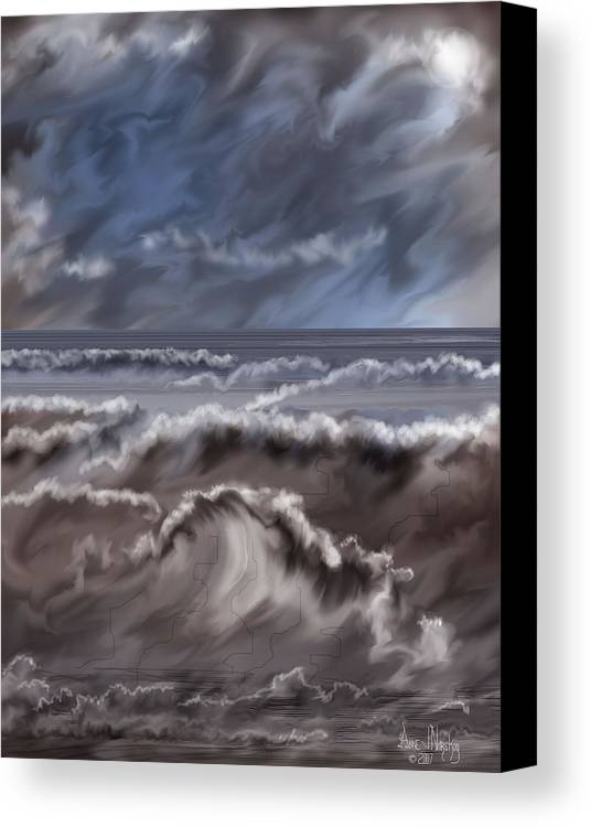 Seascape Canvas Print featuring the painting Caramel Seas by Anne Norskog