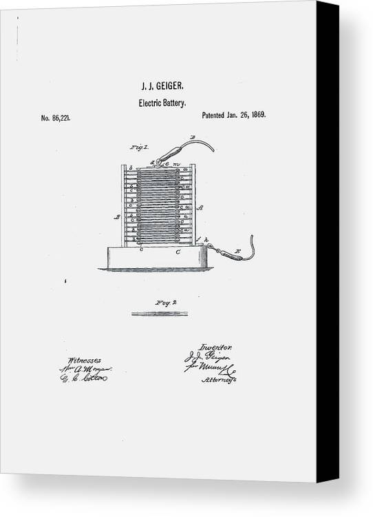 Battery Canvas Print featuring the digital art Geiger Battery Patent 1869 by Claire Doherty