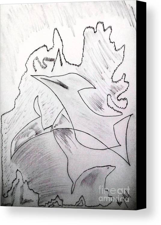 Canvas Print featuring the drawing Goodbye Carbon by Dheeraj Abrol