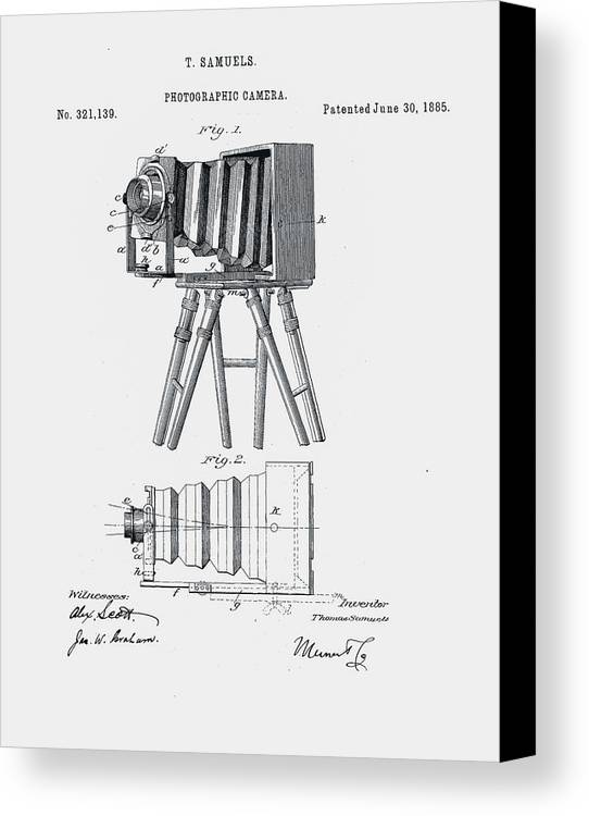 Photography Canvas Print featuring the digital art Photographic Camera Patent 1885 by Claire Doherty