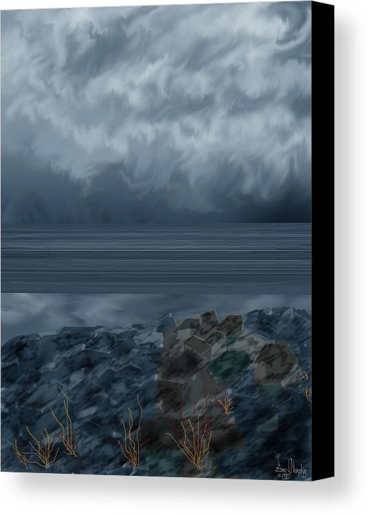 Seascape Canvas Print featuring the painting Slack Tide On The Jetty by Anne Norskog