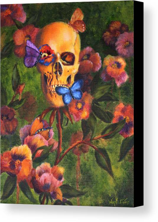 Skull Canvas Print featuring the painting Transformation by Wendi Curtis